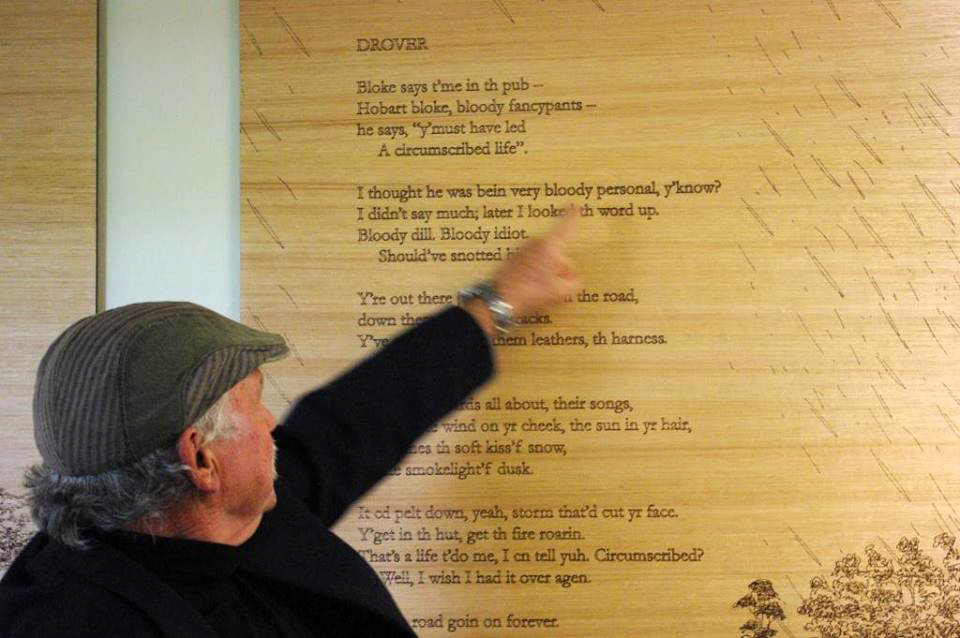 Installation of 'High Country to the Valley', by Pete Hay and Tony Thorne, Central Highlands Community Health Centre, Tasmania.