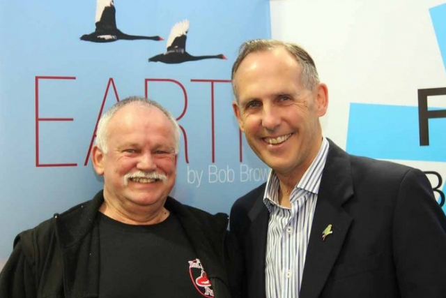 Pete Hay and Bob Brown, at the launch, by Pete, of Bob's book of illustrated poems, 'Earth', in Fullers Bookshop, Hobart.