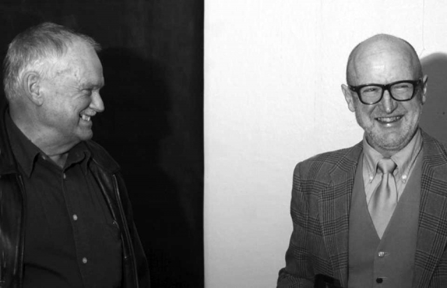Pete and Raymond Arnold at the launch of 'Last Days of the Mill' at the Burnie Regional Art Gallery (BRAG).
